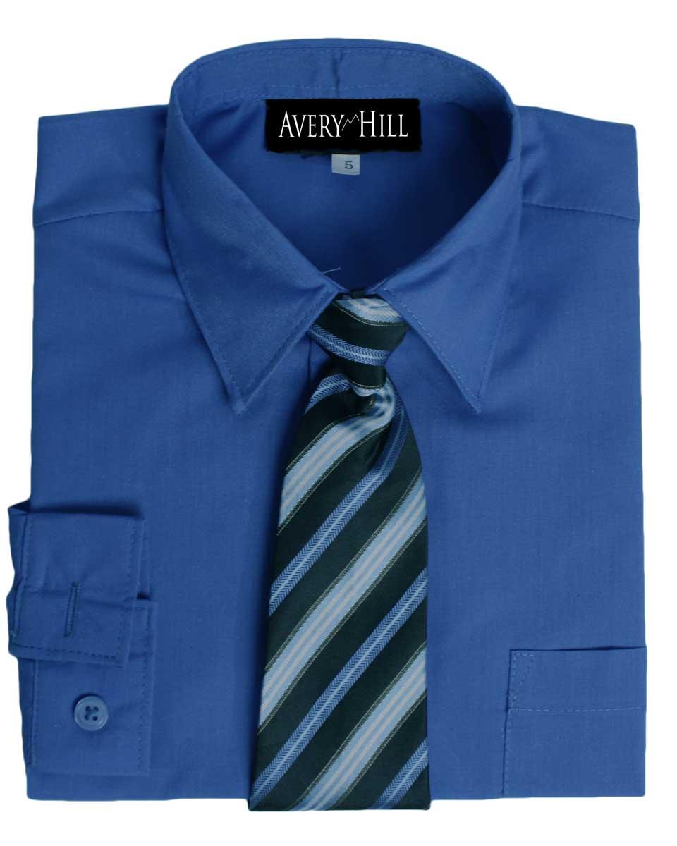 Avery Hill Boys Long Sleeve Dress Shirt With Windsor Tie