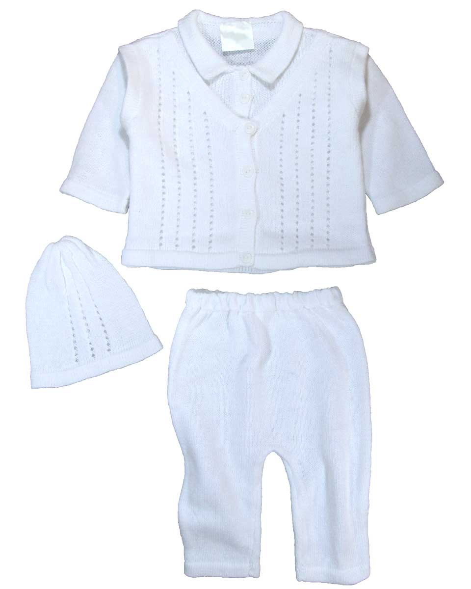 86ee84393 100% Cotton Knit White Boys Infant 3 Piece Collared V-Neck Button Up Look