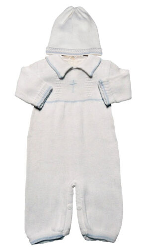 White Poly Cotton Christening Baptism Bib Collared Cross Embroidered Romper Set