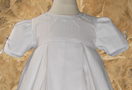 "Girls 34"" Pleated Heirloom Christening Gown with Bonnet and Slip"