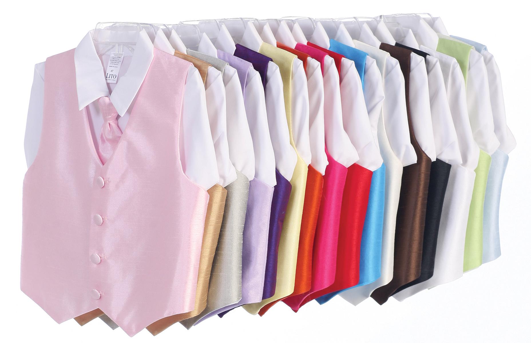 Vest and Clip On Necktie Set - Multiple Colors - Baby Infant Toddler Boys Sizes