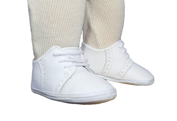 Baby Boys All White Genuine Leather Saddle Oxford Crib Shoe with Perforations