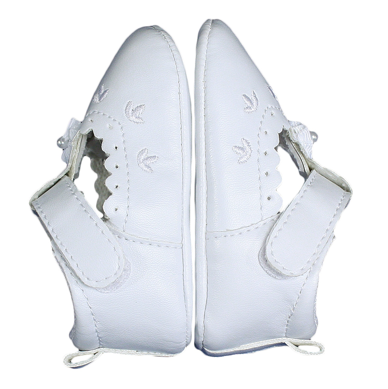 Baby Girls All White Faux Leather Mary Jane Crib Shoe with Perforation Accents