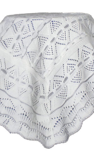 White Knit Baby Christening Shawl