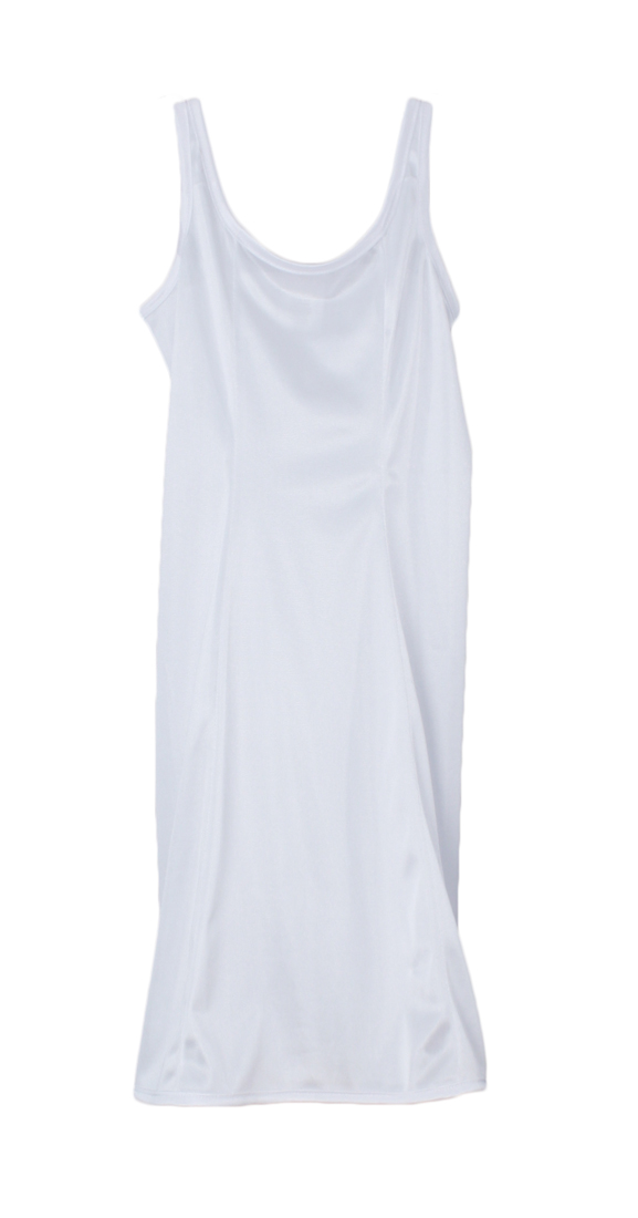 Girls White Simple Princess Style Tea Length Nylon Slip with Adjustable Straps