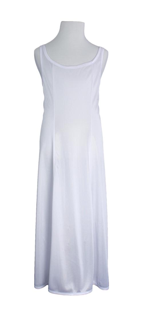 Girls White Simple Princess Style Tea Length Nylon Slip with Adjustable Straps