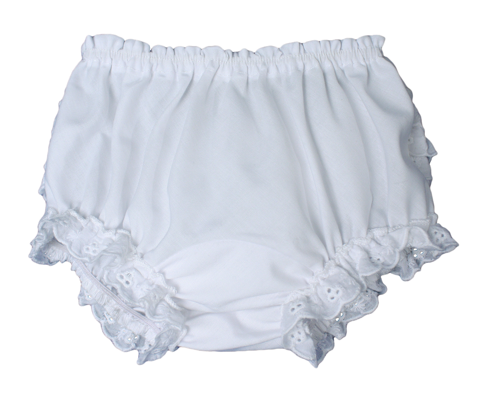 Baby Girls White Elastic Bloomer Diaper Cover with Embroidered Eyelet Edging