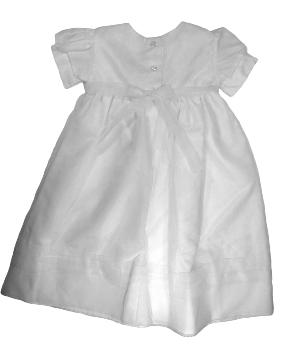 Christening Day Girls White Organza Overlay Gown with Sheer Flowers