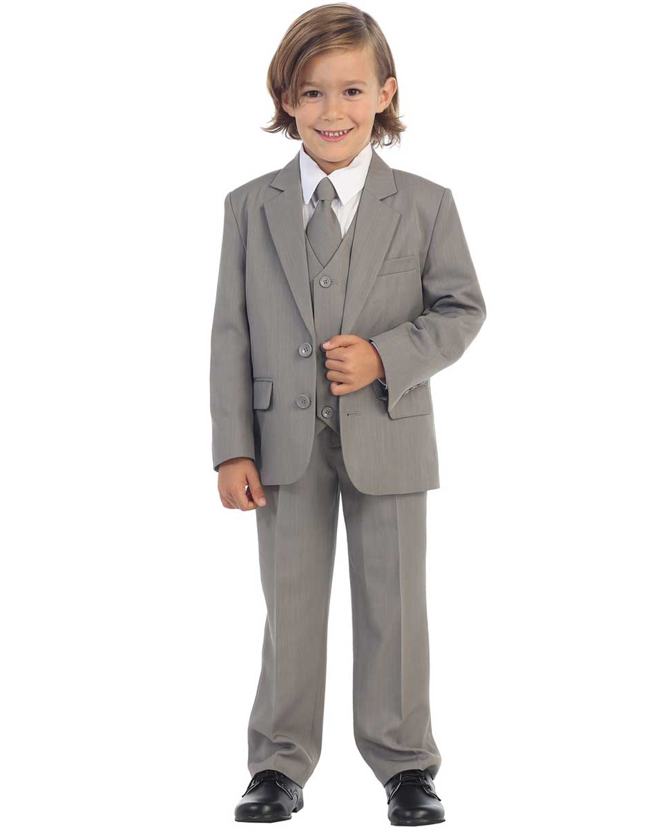 Avery Hill Boys Formal Tuxedo 5 Piece Black Suit with Shirt and Vest