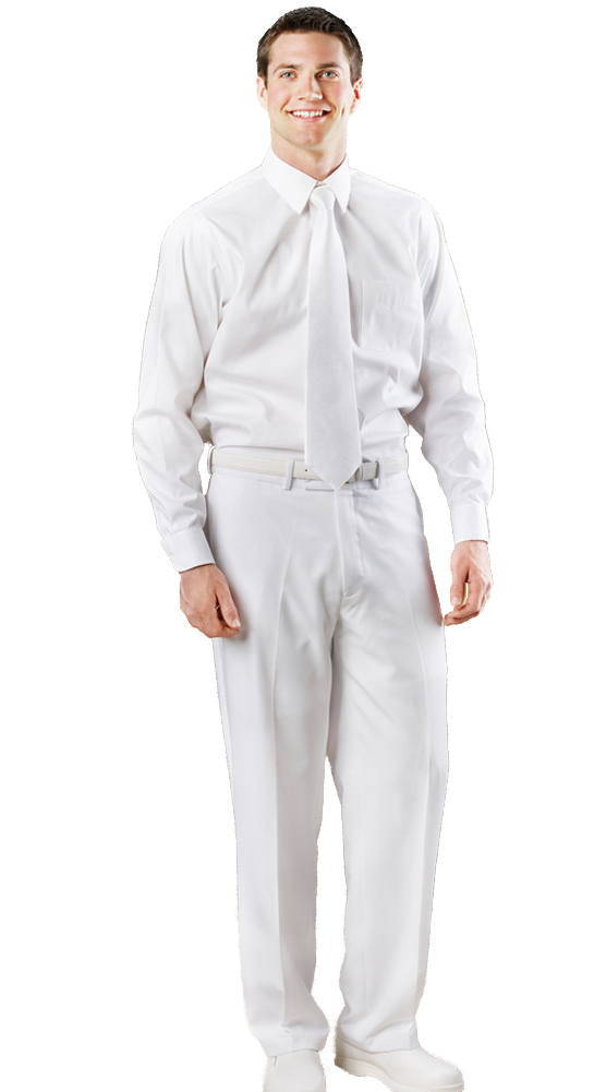 Avery Hill Men's White Flat Front Dress Pants