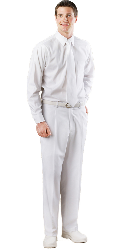 Avery Hill Men's Pleated White Polyrayon Pants
