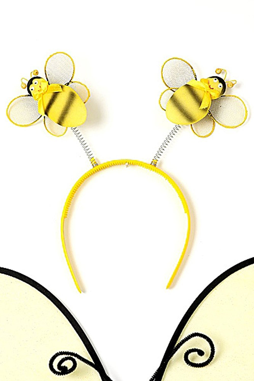 Yellow Toddler Girl Bumble Bee Wings Tutu Wand Costume Dress Up Set