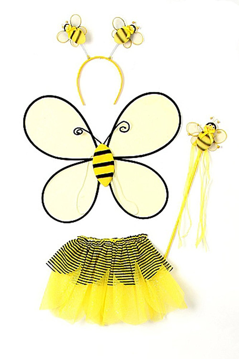 Yellow Toddler Girl Bumble Bee Wings Tutu Wand Costume Dress Up Set