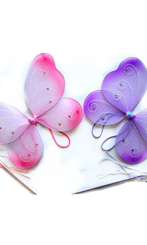 Purple or Purple Butterfly Costume 2 Piece Dress-up Wing and Wand Set