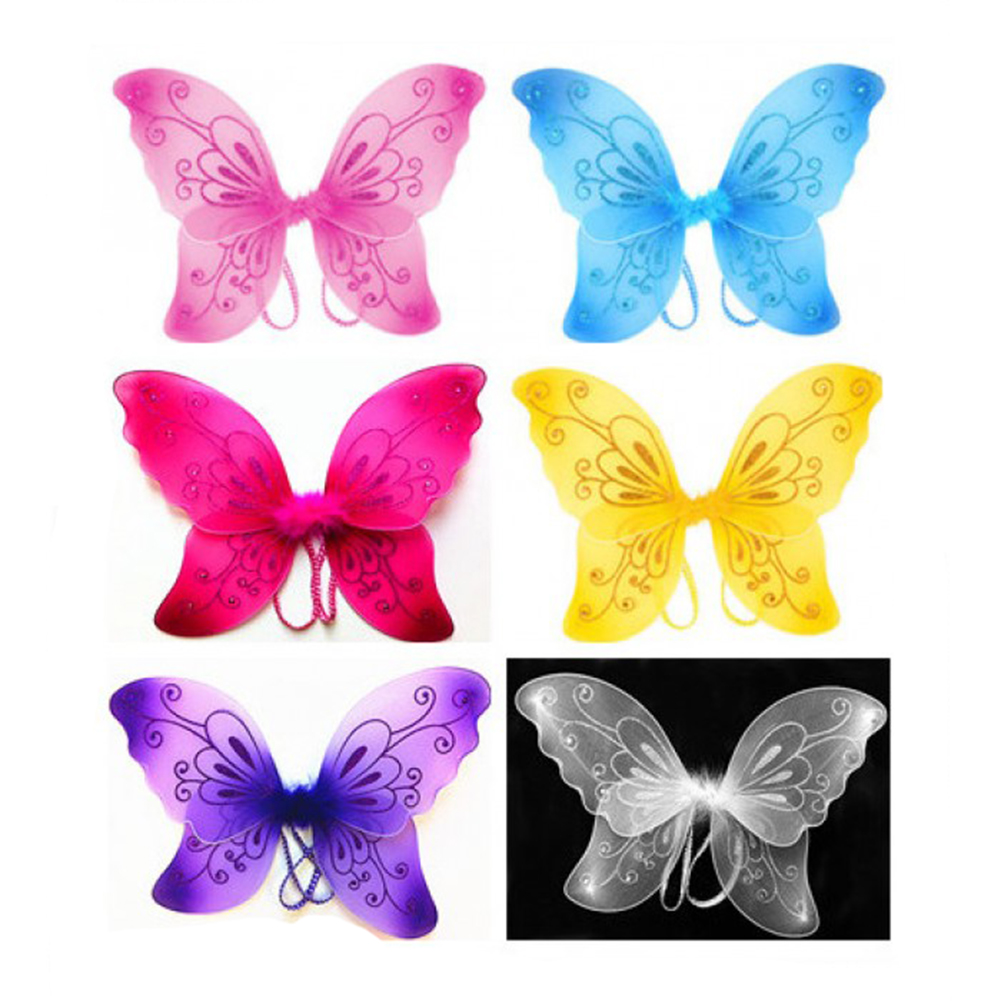 Sparkling Fairy Costume Wings with Rhinestones and Feathers - Assorted Colors!