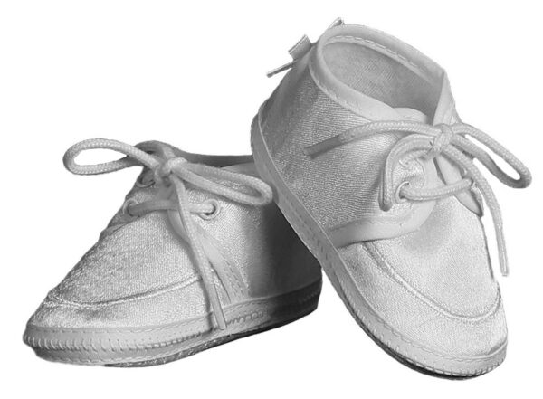 Baby Boy's White Satin Oxford Lace-up Bootie Crib Shoe