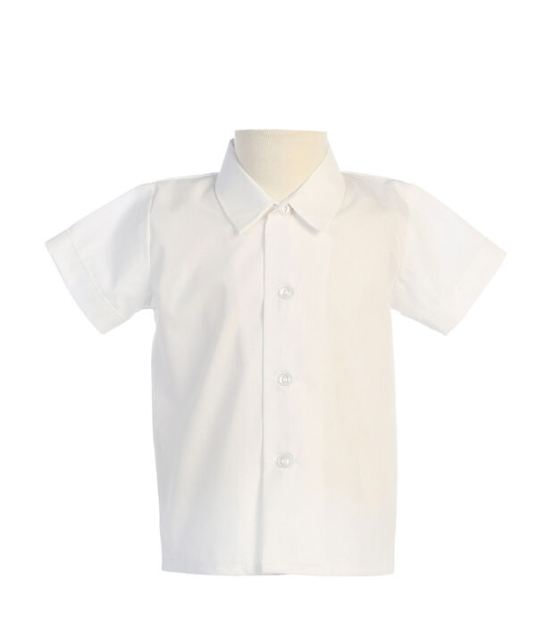 Boys Short Sleeved Simple Dress Shirt - Available in White or Ivory