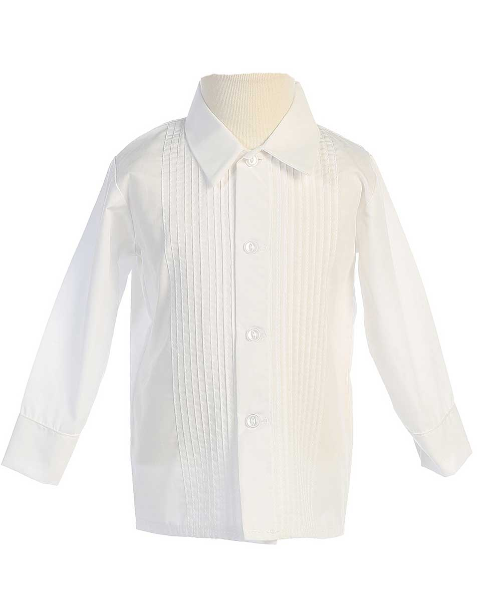 Boys Long Sleeve Pleated Tuxedo Dress Shirt Available In White Or