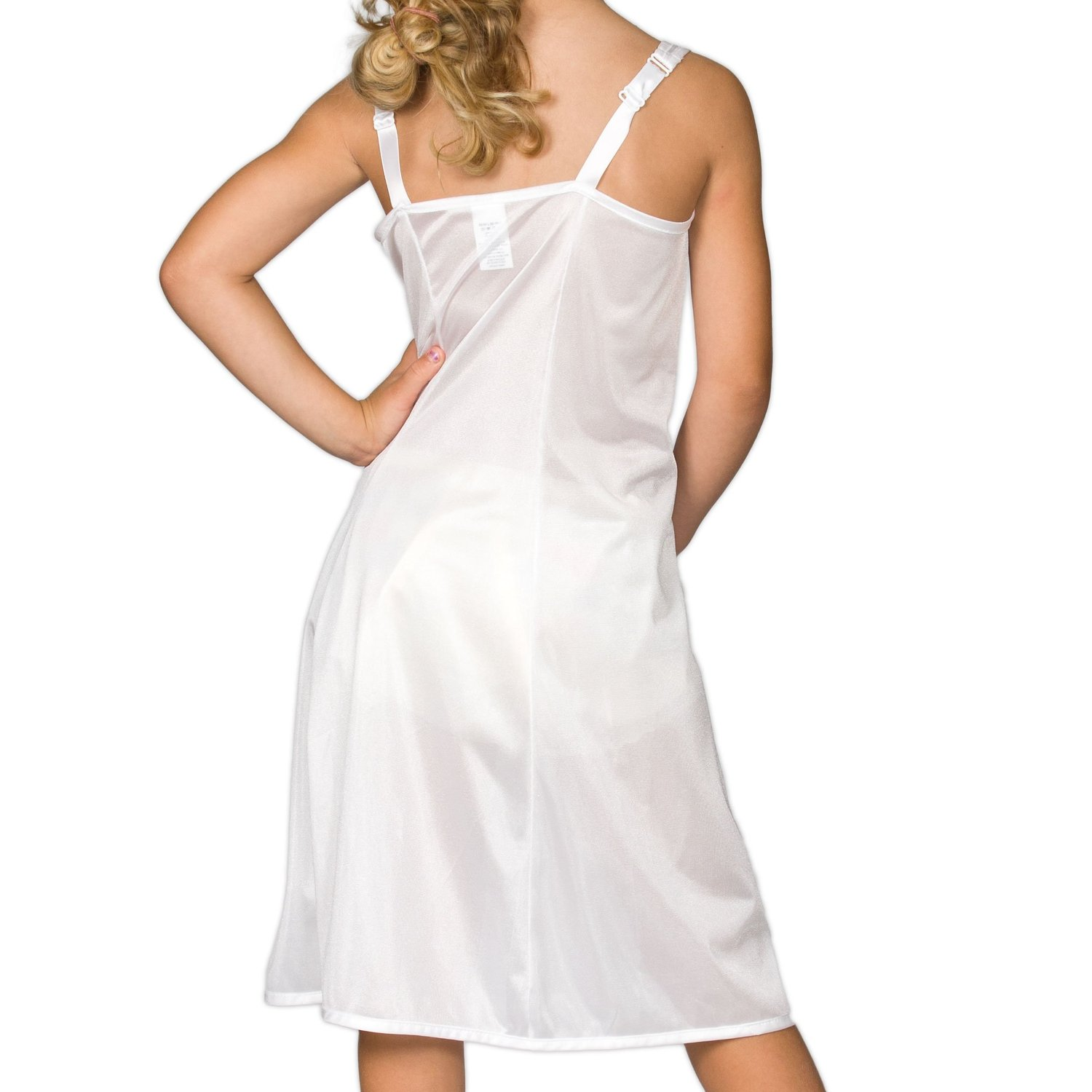 Girl's White Sleek Full Tea Length Nylon Tricot Slip