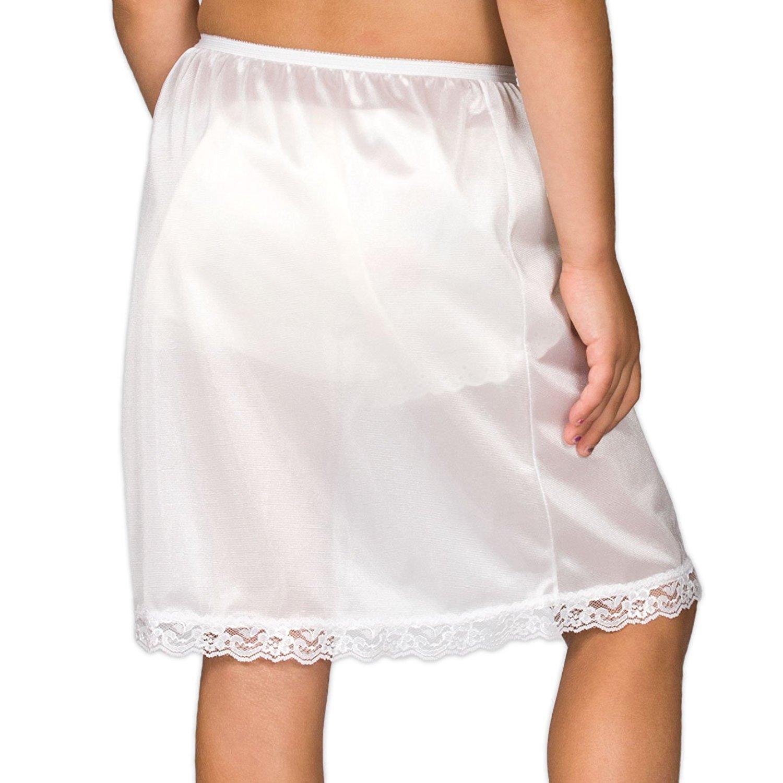 Girls White Nylon Half Slip with Lace Hem