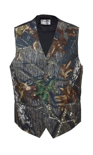 Boys or Mens Satin Camouflage Vest & Tie - Available in Bow Tie or Windsor Tie