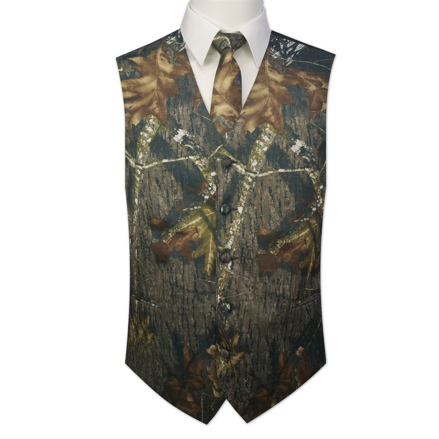 Men's dark camouflage pattern cotton full back vest with 5 buttons and 2 front pockets. Fully lined. Made from % cotton ripstop oz. sherwood stalker fabric. Vest's front and back are of the same color and fabric. Vest's back is NOT ADJUSTABLE. Sizes 2XL and up sold at additional cost.
