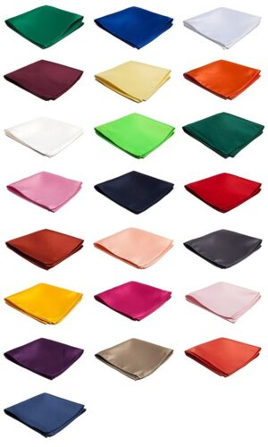 "Satin Solid Color Pocket Square 10"" x 10"" - Available in 50+ Colors"