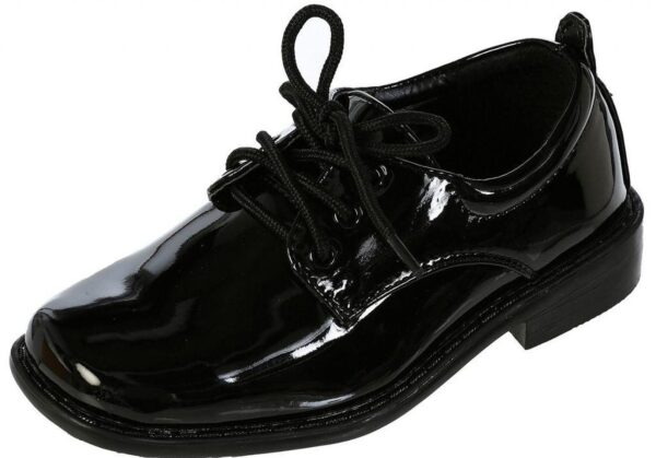 Boys Square Toe Lace Up Oxford Patent Dress Shoes - Available in White or Black