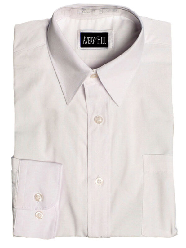 Boys White or Ivory Long Sleeve Wrinkle Resistant Dress Shirt