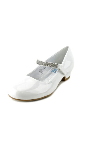Girls Low Heel Dress Shoe With Rhinestone Strap