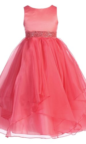 Chic Baby Girls Asymmetric Ruffles Satin/Organza Flower Girl Dress