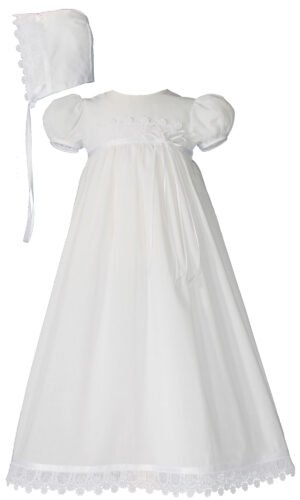 Little Things Mean A Lot 100% Cotton Handmade Girls Christening Special Occasion Dress with Italian Lace